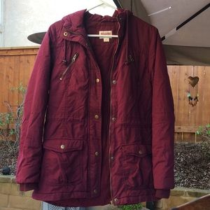 Warm Puffer Jacket Coat Long Maroon 🧥